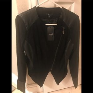AWESOME BLACK Jacket w faux leather detail NWT
